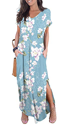 GRECERELLE Women's Casual Loose Long Dress Short Sleeve Floral Print Maxi Dresses with Pockets Light Blue-XL