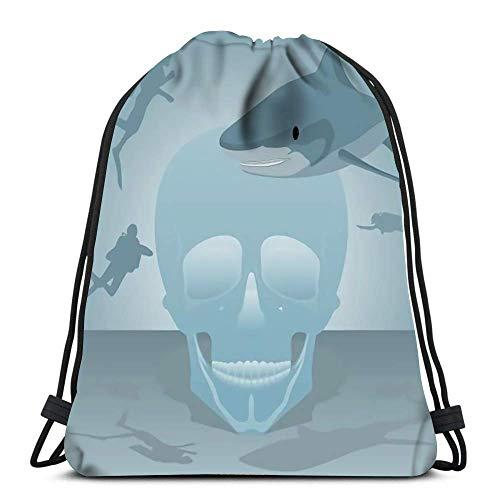 Bolsas De Cordones Human Skull Divers and Shark In The Sea Mochila Cordónes Hombre Mujer Gimnasia Saco Bolsa Multiusos para Viajar Escuela