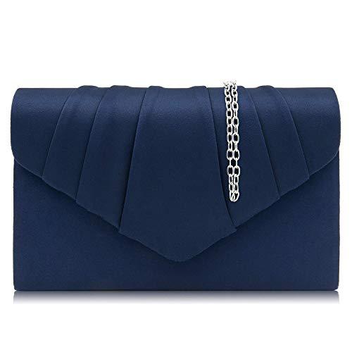 Milisente Clutch Damen, Elegante Wildleder Clutch Umschlag Crossbody Klassisch Clutch Tasche Abendtasche (blau)