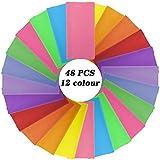 Firtink 48 hojas de papel de seda multicolor, 50 x 70 cm, papel para manualidades en 12 colores, papel plegable para Navidad, origami, manualidades y proyectos de manualidades