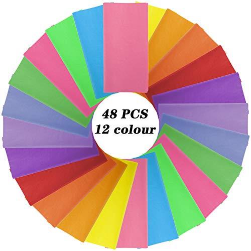 Firtink 48 Blättern Bunt Seidenpapier, 50x70cm Bastelpapier in 12 Farben Faltpapier für Weihnachten Origami DIY Kunst und Bastelprojekte