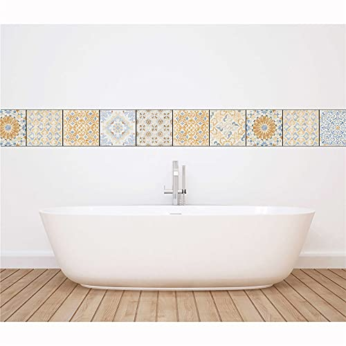 azulejos adhesivos cocina,20 piezas de pegatinas de azulejos mediterráneos retro, pegatinas de pared de mosaico decorativo para sala de estar y dormitorio -20cm