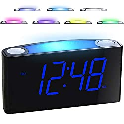 professional Bedroom alarm clock – 7-color nightlight, 2 USB chargers, 7-inch LED display with slider …