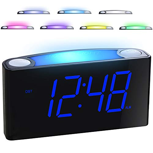 "Alarm Clock for Bedrooms - 7 Color Night Light,2 USB Chargers, 7"" Large LED Display with Slider..."