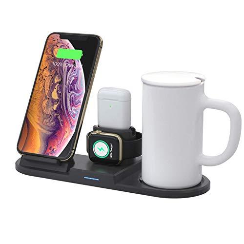 ADSE Cargador inalámbrico Mug Warmer Pad 4 en 1 15W Pad de Carga inalámbrica para iPhone 12/11 Pro/XR/XS MAX/X / 8 iWatch Series, Airpods