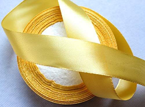 CaPiSo® 22m Satinband 25mm Breite 2,5cm Schleifenband Geschenkband Dekoband Weihnachten Hochzeit (Helles Gold, 22m)