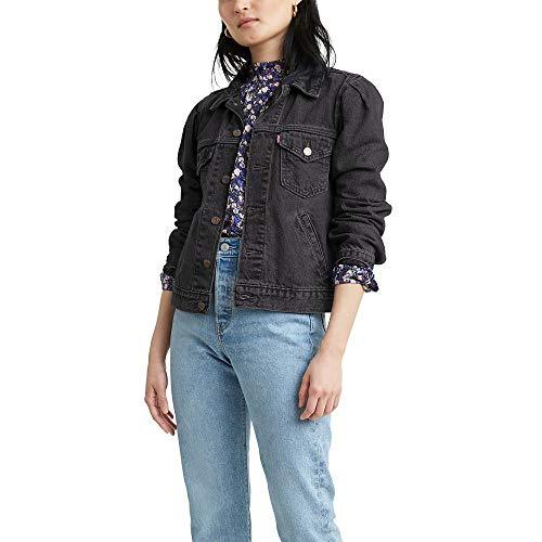 Levi's Women's Original Puff Sleeve Trucker Jackets, overcast Day, Small
