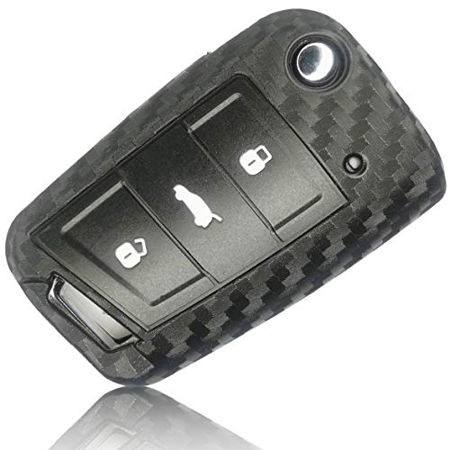 FoilsAndMore Hülle kompatibel mit VW Golf 7 Autoschlüssel 3-Tasten Skoda Seat - Silikon Schutzhülle Cover Schlüsselhülle in Carbon Schwarz