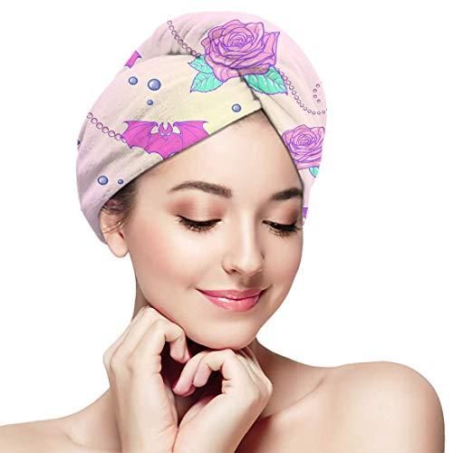 XBFHG Baignade Cheveux Secs Cap Kawaii Roses Chauves-Souris Perle Bijoux Séchage Rapide Serviette Enveloppée Adulte Douche Tête De Bain Cap
