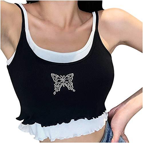 Isshops Damenoberteile Zweiteiliges Ärmelloses Schmetterlingsdruck-Farbwesten-T-Shirt Bluse Crop Tank Top