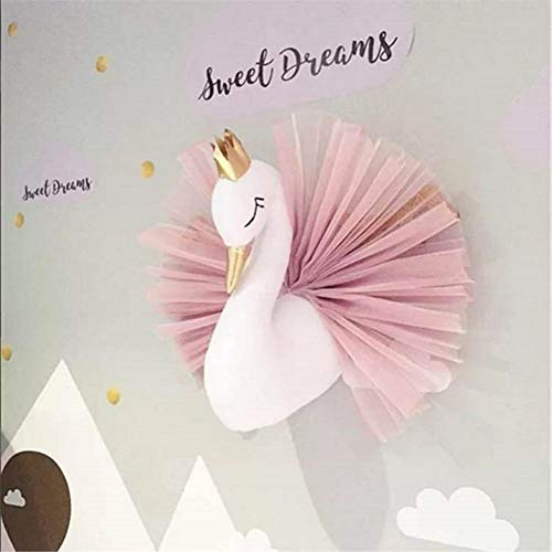 3D Gold Crown Swan Head Gauze Dress Wall Art Hanging for Nursery Kids Room Decoration Girls Gift Room Bedroom Playroom