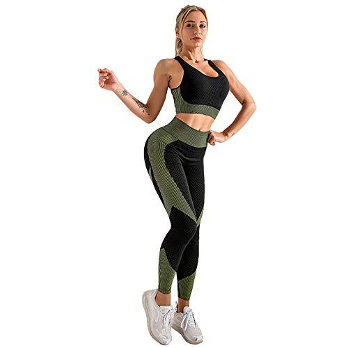 TaFoyu conjunto de 2 piezas de ropa deportiva mujer, conjunto de sujetador deportivo de cintura alta y mallas, conjuntos de Yoga de cuello redondo para fitness verde s