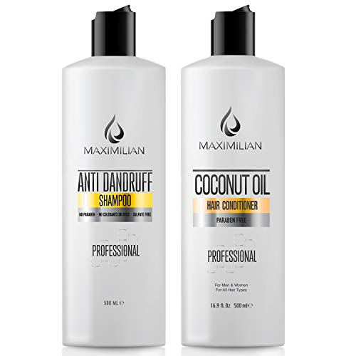 MAXIMILIAN Dandruff Shampoo and Cocunut Oil Conditioner - Shampoo For Dandruff Treatment And Dry Scalp Treatment - Dandruff Shampoo For Men and Shampoo For Women (2x16.9 Fl Oz)