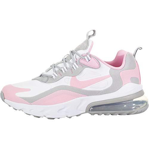 Nike Air Max 270 React (Gs) Sneaker, Blanco/Pink-Lt Smoke Grey-Metallic Silver, 39 EU