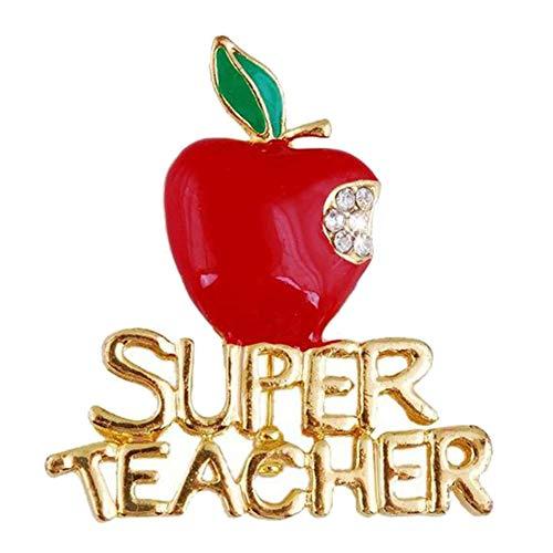 SOQNVLN Broche para mujer, diseño de superprofesora de Apple con diamantes de imitación incrustados, regalo de Navidad para el día del profesor (rojo)