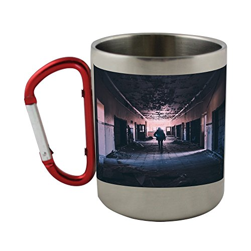 Stainless steel mug with carabiner handle with Hallway, Abandoned, Damaged, Deserted
