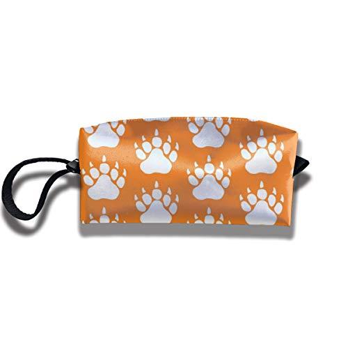 Bbhappiness Pouch Handbag Cosmetics Bag Case Purse Travel & Home Portable Make-up Receive Bag Bear Animal Print In Orange