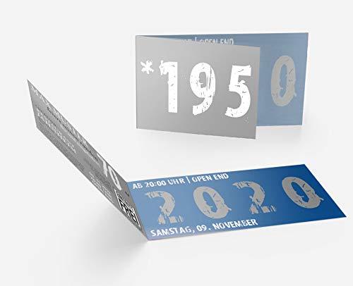 Runder Geburtstag Einladungskarten 70 Jahre Geburtstagseinladungen - Zeitsprung Einladung für runden Geburtstag 70er Feier Blau-Grau (30)