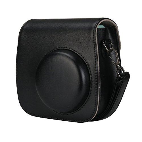 Anter Tasche für Fujifilm Instax Mini 8 8+/Mini 9 Sofortbildkamera aus Weichem Kunstleder mit Schulterriemen und Tasche - Elegantes Schwarzes