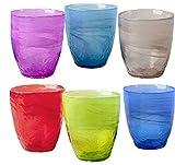 Pagano Home 6 vasos para agua / wisky colores surtidos de cristal capacidad 30 cl (rojo, transparente, lila, verde, naranja celeste)