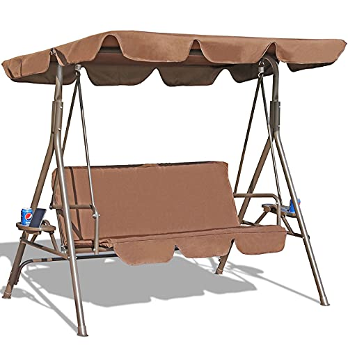 GOLDSUN Durable 3 Person Outdoor Patio Swing with Teapoys Weather Resistant Canopy...