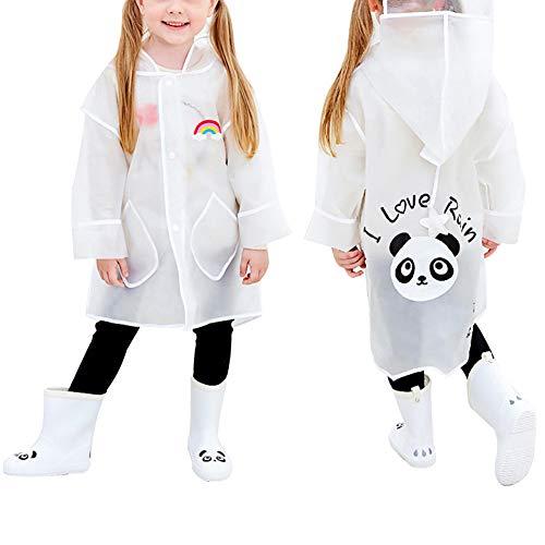Queta Chubasquero Infantil Chubasquero para Niños, Poncho de Lluvia para Niños, Chubasquero Impermeable con Patrón de Panda, Capa de Lluvia de Dibujos Animados para Niños y Niñas (L)