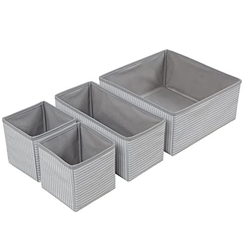 Ocean Home Faltbare Schubladenboxen, Organizer Aufbewahrungsbox für Unterwäsche Krawatten Socken Schals Organizer Cubes Container für Kinder und Schlafzimmerregal/Kleiderschrank = (Grau)