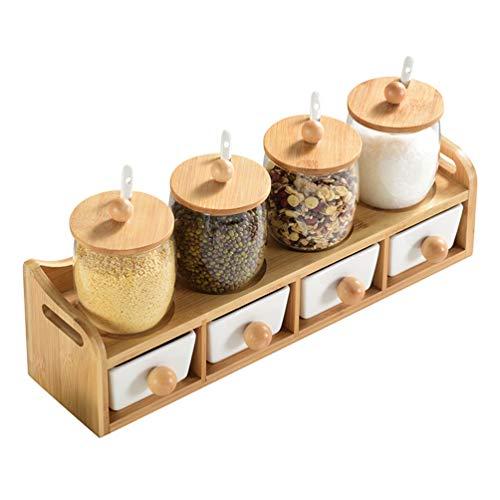 Cocina Hogar Creativo Botella de condimento europeo Juego de múltiples piezas Bombilla de vidrio Salero Hogar Cerámica Caja de especias Condimento diario Caja de cuerpo recto Tarro Conjunto de cocina