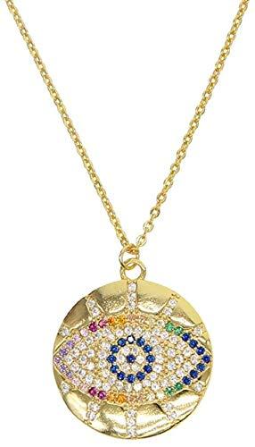 niuziyanfa Co.,ltd Collar con Colgante Redondo de Piedra con circonita arcoíris con Relleno de Oro Turco Colorido Afortunado para Mujer