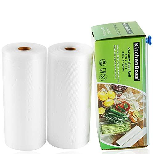KitchenBoss Bolsas de Vacío 2 Rolls 20x1500cm con Caja de Corte (No Más Tijeras) para Almacenaje de Alimentos,Sous Vide Cocina, BPA Free