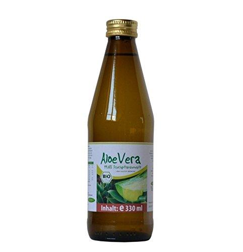 BIO Aloe Vera Premium Direktsaft von BIOMOND 99,8% / 2 Flaschen mit je 330 ml (660 ml) / Vorteilspack/ohne Zusatzstoffe/purer Pflanzenfrischsaft/Glasflasche