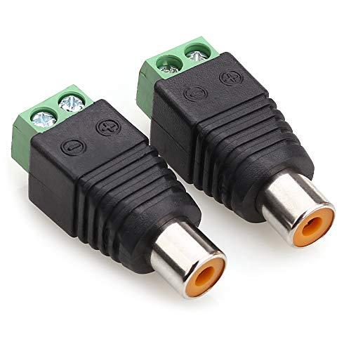 NANYI Conector RCA hembra, conector RCA hembra a terminal de tornillo AV, adaptador de audio y vídeo para cámara de seguridad CCTV (paquete de 2)