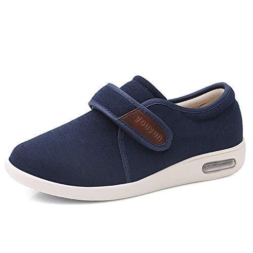 PXQ Zapatos para Caminar para Hombres Zapatillas de Deporte amplias y Anchas con Cojines de Aire Anchos para la Fascitis Plantar, ortopédicos, juanetes, diabéticos,Azul,42