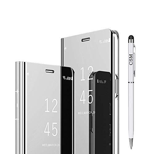 Capa flip espelhada Huawei P20 Pro, capa com suporte galvanizado de luxo, capa inteligente com proteção de tela, cobertura total, película flexível para Huawei P20 Pro (prata)