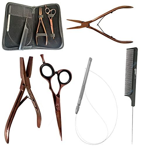 Kit de herramientas para extensiones de cabello humano, para tijeras, microanillas, punta de aguja, tubo de alambre