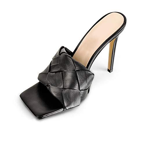 LISHAN Women's Stiletto Slip On Square Open Toe Weave Mule Classic Sandal Heeled slides High Heels Classic Daily Dress Shoes Black Size 8