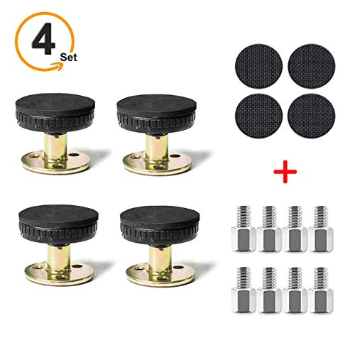 mcjs-silisili Adjustable Threaded Bed Frame Anti-Shake Tool 4Pack, Include 8Pcs Adjustable Screws and 4Pcs No-Slip Mat Telescopic Support for Room Wall and Furniture DIY Combination Possible 30-110mm