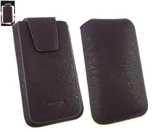 Emartbuy® Allview P6 Lite Smartphone Klassischer Bereich Lila Luxury PU Leder Slide in Hülle Tasche Sleeve Halter ( Größe 4XL ) Mit magnetischer Klappen und Pull Tab Mechanism