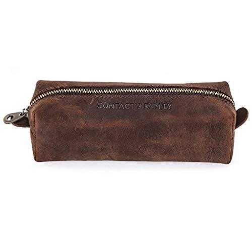 PING - Bolsa de piel auténtica hecha a mano con cremallera de piel de vacuno para lápices, caja de almacenamiento de papelería, regalo escolar