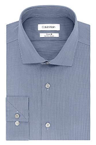 "Calvin Klein Men's Dress Shirt Slim Fit Non Iron Stretch Solid, Smokey Blue, 14"" Neck 32""-33"" Sleeve"
