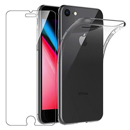 Leathlux Coque Compatible avec iPhone 8 et iPhone 7 et iPhone Se 2020 4.7 Pouces Transparent avec Verre trempé écran Protecteur, Souple Silicone Étui Protection Bumper Housse TPU Téléphone Case Cover