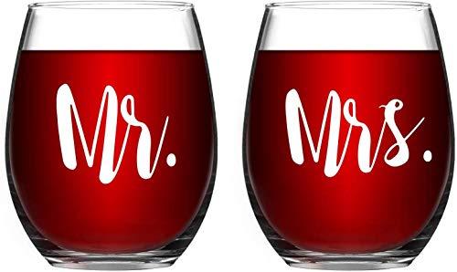 Geboren voor Anime (15-OZ - Tijdloze Gegraveerde Mr & Mrs Wijnglas Set van 2 Stemless Wijnglazen Engagement Verjaardag voor koppels Liefhebbers Ouders Man Vrouw