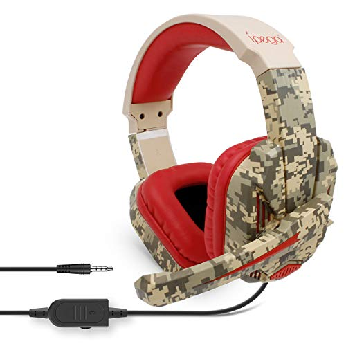 Ipega PG-R005 Camouflage-Multifunktions-Gaming-Headset, kabelgebunden, kompatibel mit N-Switch/PS4/PC/Xbox One, 3,5 mm Audio-Schnittstelle, Gaming-Headset