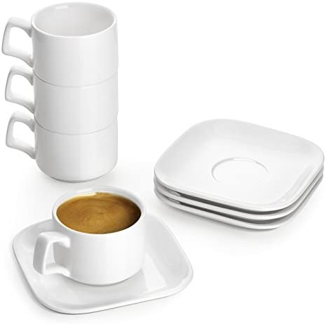 DOWAN Porcelain Espresso Cups with Saucers 3 oz Coffee Cup and Saucer Set White Set of 4 product image