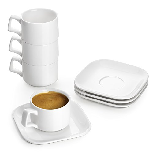 DOWAN Porcelain Espresso Cups with Saucers, 3 oz Coffee Cup and Saucer Set, White, Set of 4