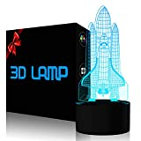 YKLWORLD Rocket Night Light 3D Illusion Lamp LED Space Shuttle Nightlight 7 Color Changing Touch Sensor Desk Table Lamp with USB Cable Decoration for Nursery Bedroom Kids Boys Birthday Gifts
