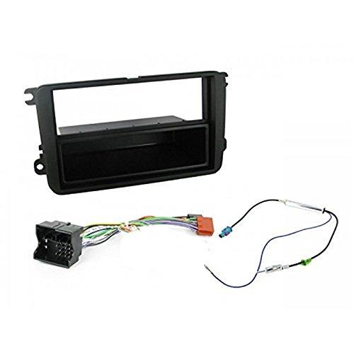 Sound-way Kit Montaje Autoradio, Marco 1 DIN Radio de Coche, Caja de Almacenamiento, Adaptador Antena, Cable Adaptador Conector ISO, Compatible con Volkswagen, Skoda, Seat