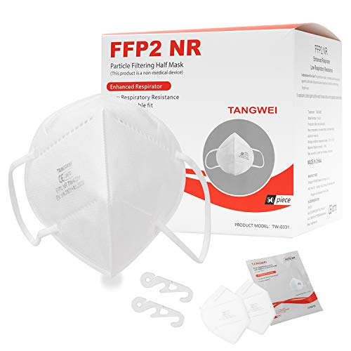 FFP2 Maske Atemschutzmaske, Konformität mit EN 149:2001 + A1:2009, Maske mit mehrschichtigem Filtersystem, freier und bequemer Atem (50)