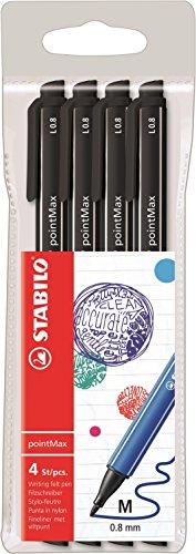 Stylo feutre - STABILO pointMax - Pochette de 4 stylos-feutres pointe moyenne en nylon - Noir