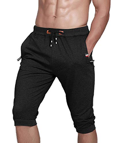 Gopune Men's Cotton Casual Shorts 3/4 Jogger Capri Pants Workout Summer Short with Zipper Pockets (Black,34)